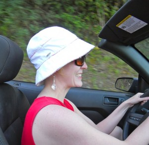 Jen driving top down