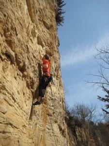 Sevve Stember climbing Granddad's Bluff
