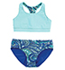 Coolibar - Aqua Paisley Reversible Swim Tops and Bottoms