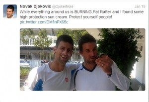 Patrick Rafter and Novak Djokovic at Australian Open